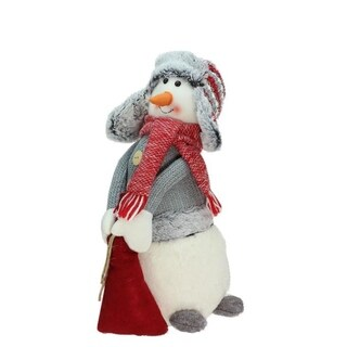 "15"" Gray and Red Snowman with Bag of Gifts Christmas Tabletop Decoration"