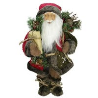 "16"" Country Rustic Standing Santa Claus Christmas Figure with Knitted Snowflake Jacket"