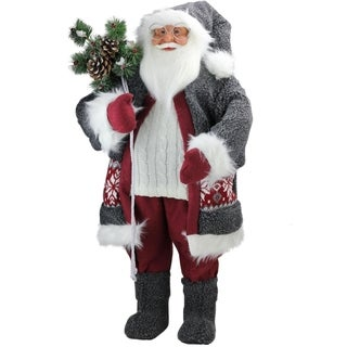 """32"""" Santa in Plush Gray Suit with Sack of Pine Christmas Figure Decoration"""