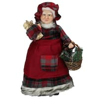 "16"" Country Rustic Mrs. Claus in Red Checkered Dress Holding a Basket and Gift Christmas Figure"