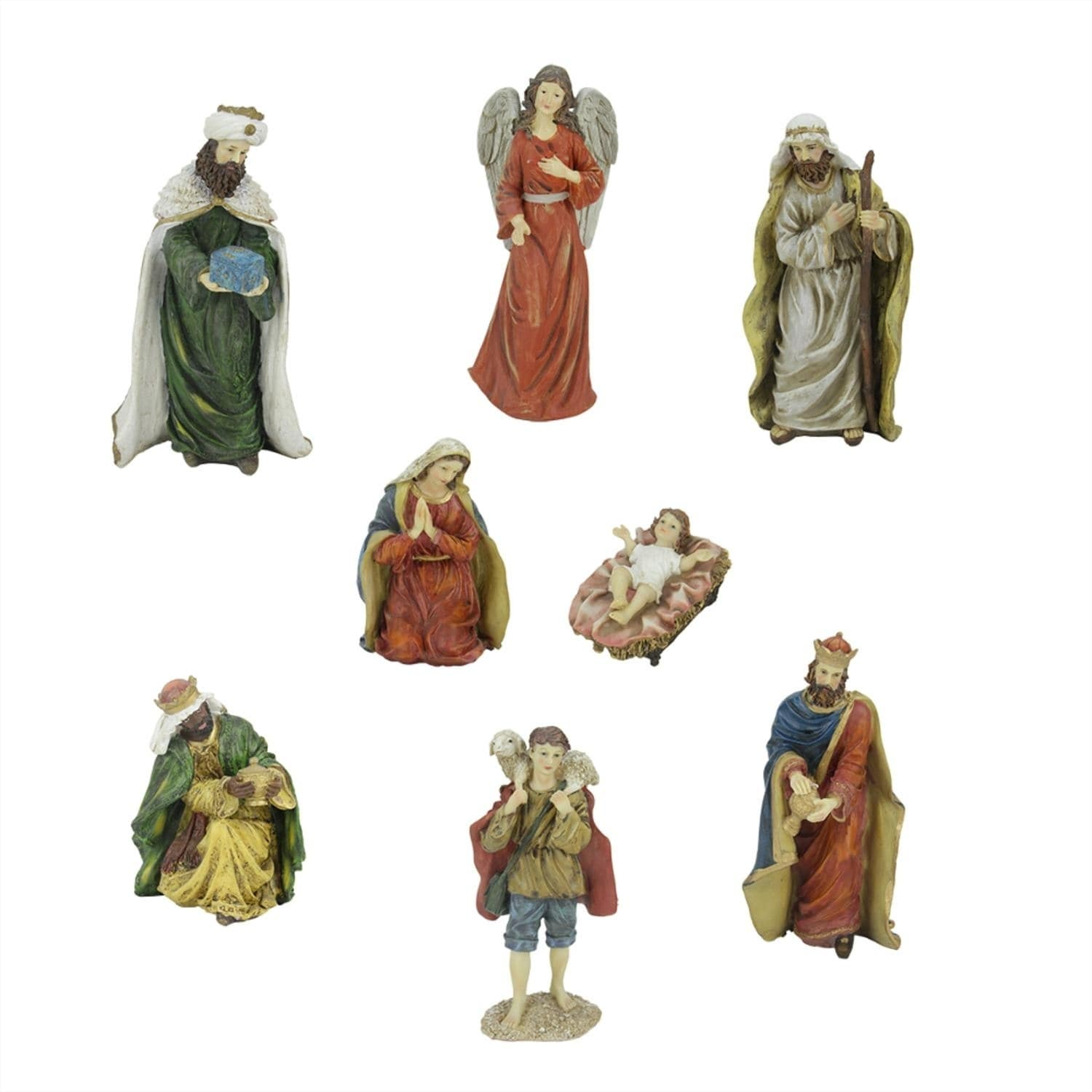 8-Piece Jewel Tone Inspirational Religious Christmas Nati...