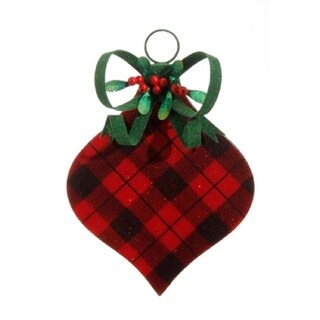 "11.5"" Country Cabin Flocked Black and Red Plaid Onion FInial Christmas Ornament"