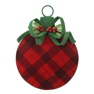"""11"""" Country Cabin Flocked Black and Red Plaid Ball Christmas Ornament"""