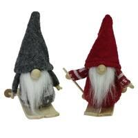 """Set of 2 Gray and Red Skiing Santa Gnomes Hanging Christmas Ornaments 4"""""""