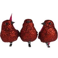 Set of 3 Red Glitter Bird Clip On Christmas Ornaments 5.9""
