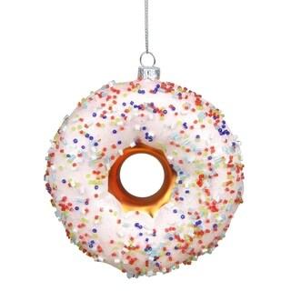 """4"""" Dessert Delight Glazed & Sprinkled Round Doughnut Christmas Ornament"""