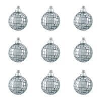 "9ct Silver Splendor Mirrored Glass Disco Ball Christmas Ornaments 2.5"" (60mm)"