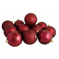 "12ct Burgundy Red Shatterproof 4-Finish Christmas Ball Ornaments 4"" (100mm)"