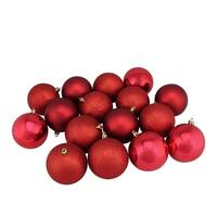 """16ct Red Hot Shatterproof 4-Finish Christmas Ball Ornaments 3"""" (75mm)"""