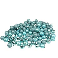 "96ct Mermaid Blue 4-Finish Shatterproof Christmas Ball Ornaments 1.5"" (40mm)"