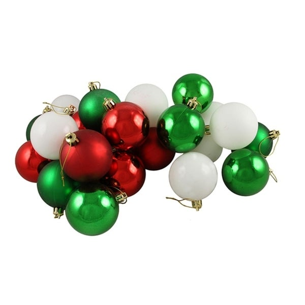 24ct matteshiny peppermint red white green shatterproof christmas ball ornaments 25