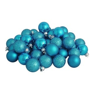 32ct turquoise blue 4 finish shatterproof christmas ball ornaments 325 - Blue Christmas Ornaments