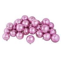 "60ct Shiny Bubblegum Pink Shatterproof Christmas Ball Ornaments 2.5"" (60mm)"