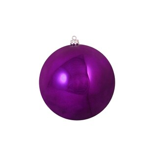"Shiny Eggplant Purple Shatterproof Christmas Ball Ornament 4"" (100mm)"