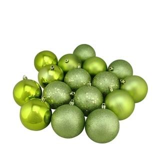 "16ct Green Kiwi Shatterproof 4-Finish Christmas Ball Ornaments 3"" (75mm)"