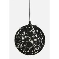 "4.75"" Black and White Jewel Filigree Ball Christmas Ornament"