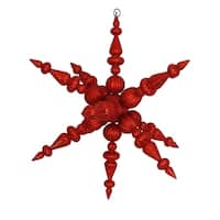 "30"" Red Commercial Shatterproof Radical 3-D Snowflake Christmas Ornament"