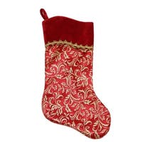 """20"""" Red and Gold Glittered Leaf Flourish Christmas Stocking with Shadow Velveteen Cuff"""