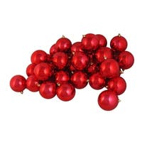 "60ct Shiny Red Hot Shatterproof Christmas Ball Ornaments 2.5"" (60mm)"
