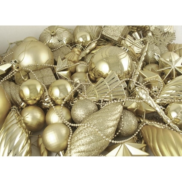 125 piece club pack of shatterproof champagne gold christmas ornaments