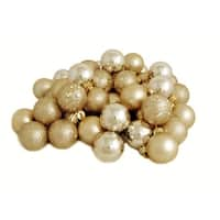 """60ct Champagne Gold Shatterproof 4-Finish Christmas Ball Ornaments 2.5"""" (60mm)"""
