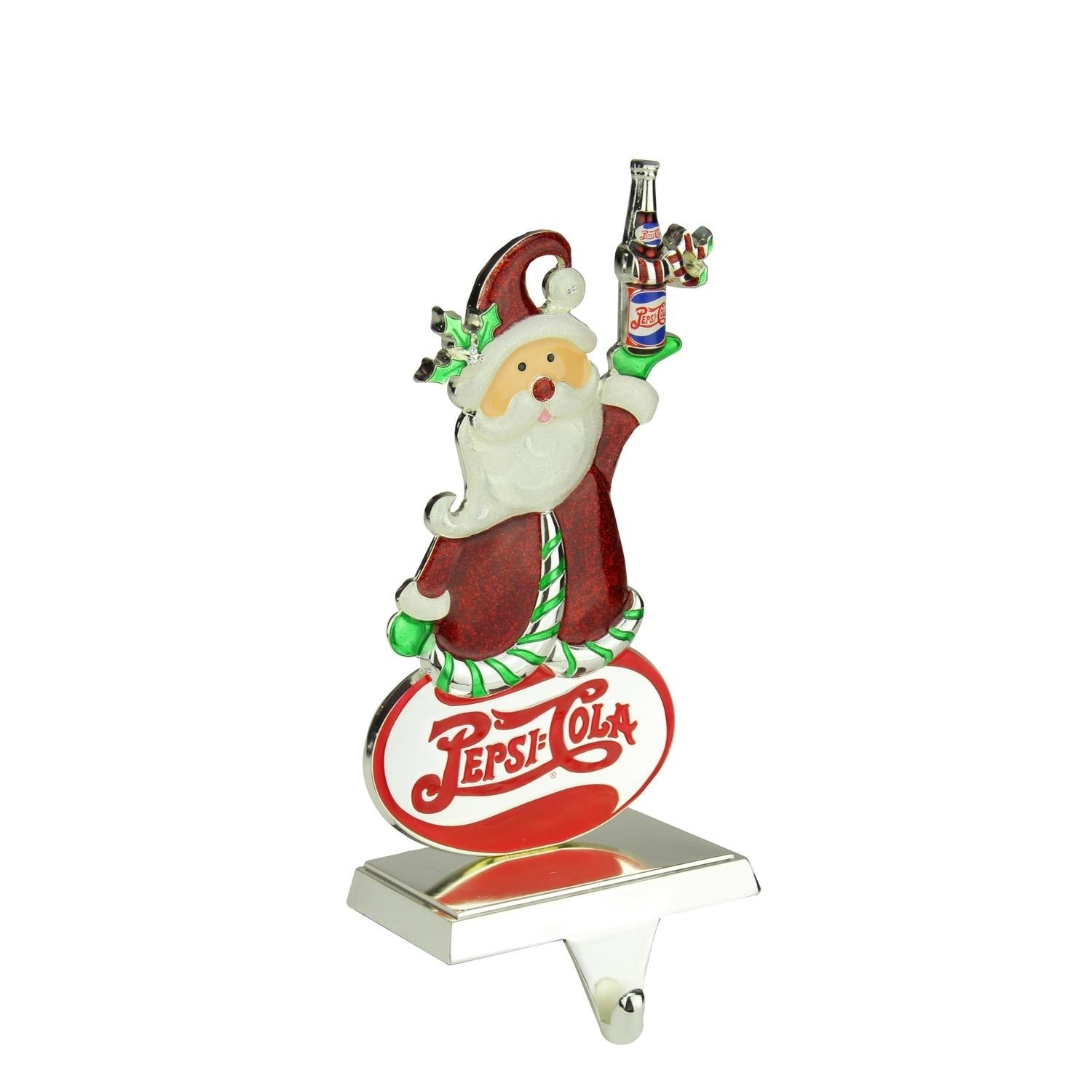 "9.75"" Silver Plated Pepsi-Cola Santa Claus Christmas Stoc..."
