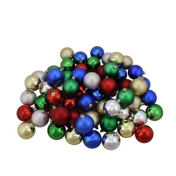 96ct Traditional Multi-Color Shiny & Matte Shatterproof Christmas Ball  Ornaments 1.5