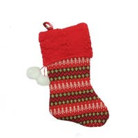 "19"" Red and Green Sweater Knit Decorative Christmas Stocking"