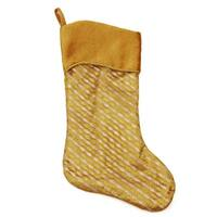 """20"""" Silver and Gold Glitter Striped Christmas Stocking with Shadow Velveteen Cuff"""