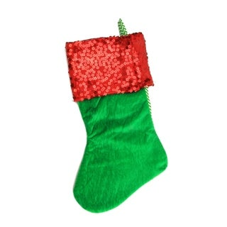 "19"" Green and Red Chevron Sequin Cuff Christmas Stocking"