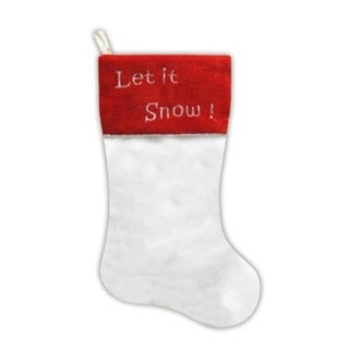 """20"""" White Faux Fur """"Let it Snow!"""" Christmas Stocking with Red Shadow Velveteen Cuff"""