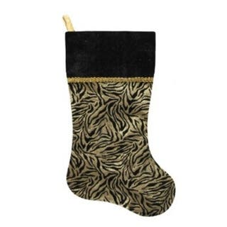 20 black and gold metallic zebra print christmas stocking with shadow velveteen cuff - Black Christmas Stocking