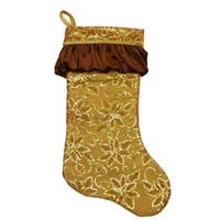 "19"" Gold Sequined Floral Christmas Stocking with Venetian-Style Ruffle Cuff"
