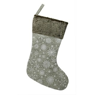 """15"""" Gray Snowflake Saturation and Faux Fur Christmas Stocking"""