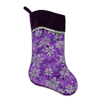 "20"" Purple and Silver Glittered Floral Christmas Stocking with Shadow Velveteen Cuff"