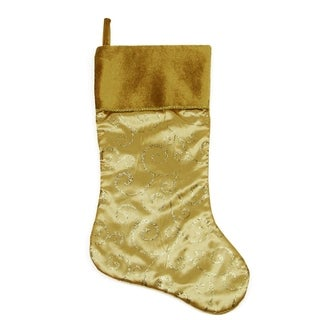 """20"""" Gold Glittered Swirl Christmas Stocking with Shadow Velveteen Cuff"""