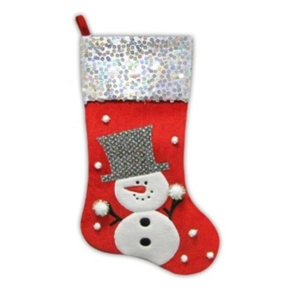205 red and white snowman embellished and embroidered christmas stocking with sequined cuff