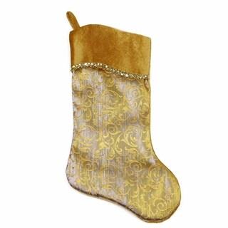 "20"" Two-Toned Metallic Gold Flourish Christmas Stocking with Wavy Gold Cuff"