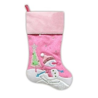 "20.5"" Pink Embroidered and Embellished Ice Skating Snowman and Christmas Tree Stocking"