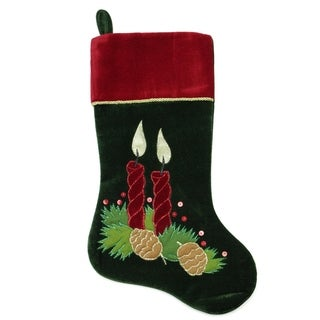 "20"" Dark Green and Burgundy Candle and Pine Cone Christmas Stocking with Red Velveteen Cuff"