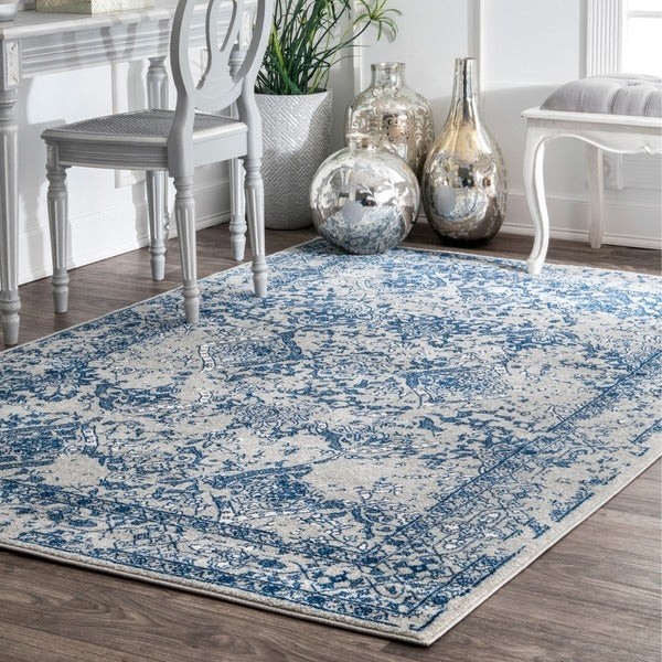 Maison Rouge Leah Vintage Floral Ornament Light Blue Rug - 6'7 x 9'