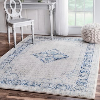 nuLOOM Light Blue Vintage Flower Medallion Area Rug