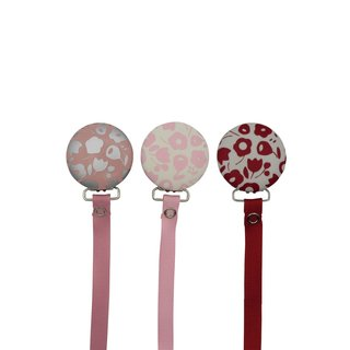 Crystal Dream Flower Print Handmade Pacifier Clip with Matching Solid Ribbon 8 Inch (FP)