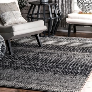 nuLOOM Contemporary Abstract Pattern Grey Rug (4' x 6')