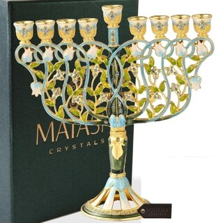 "Matashi MTMNR576 7.5"" Tall Hand Painted Menorah Candelabra Embellished- High Quality Blue Crystal"