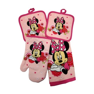 Disney Junior Minnie Mouse 4pc Kitchen Set - Kitchen Towel, Oven Mitt & 2 Pot Holders
