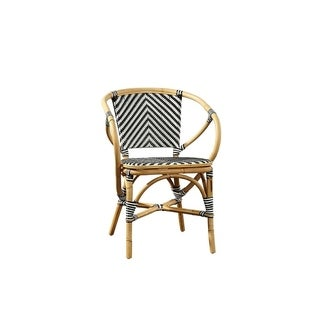 Common Home Baskerville Black and White Twill Wicker Bistro Chair