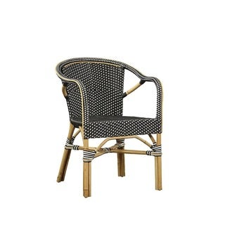 Baskerville Black and White Wicker Bistro Chair (Set of 2)