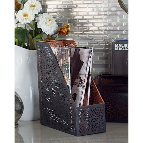 Modern 11 x 4 Inch Black Perforated Iron File Holder by Studio 350