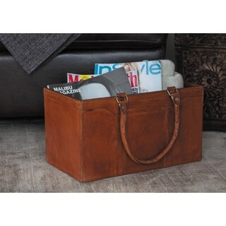 Traditional 8 x 15 Inch Brown Wood and Leather Organizer by Studio 350